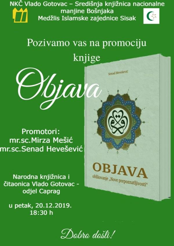 """Poziv na predavanje i promociju knjige """"Objava"""" autora Senada Heveševića"""