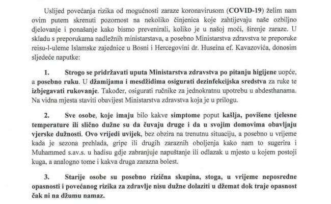 Naputak Mešihata IZ-e u Hrvatskoj zbog koronavirusa