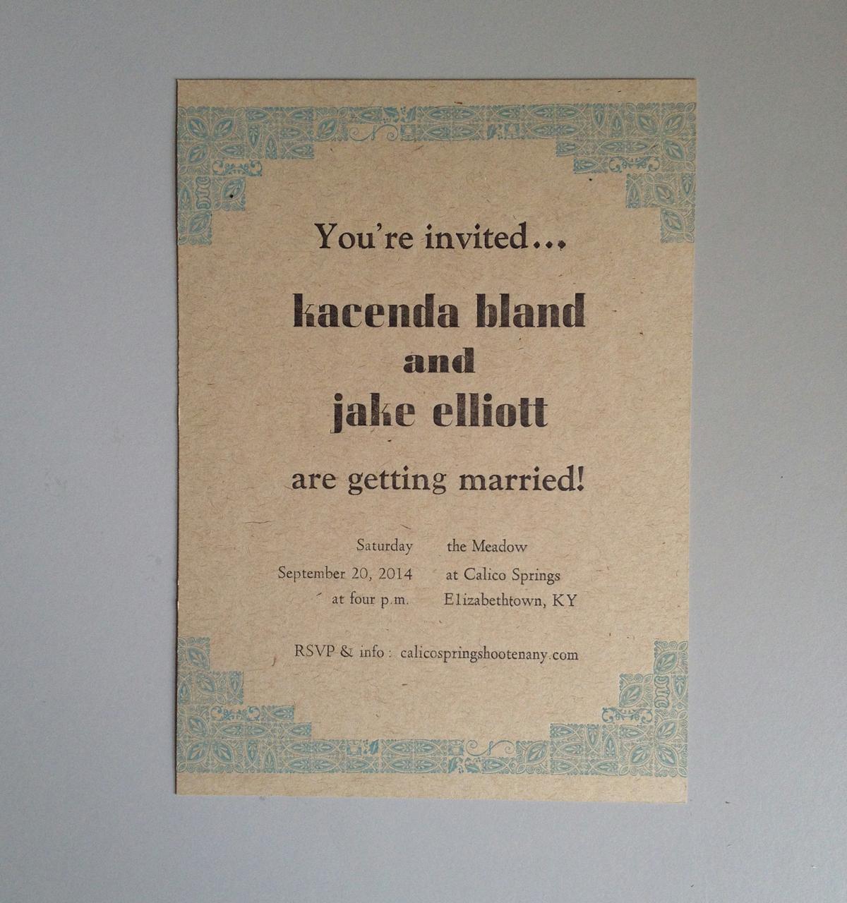 Jake & Kacenda – wedding invites & save-the-dates