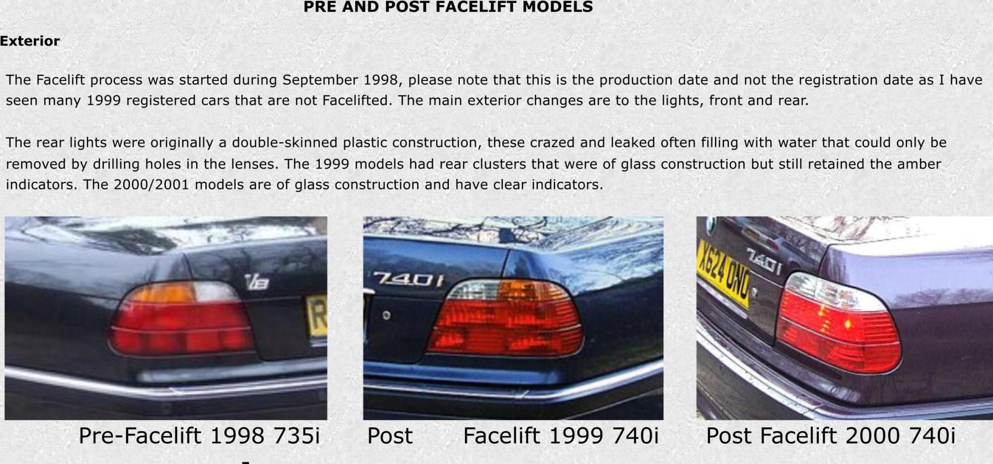 hight resolution of  pre and post facelift models exterior pre facelift 1998 735i post facelift 1999 740i