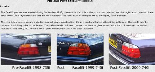 small resolution of  pre and post facelift models exterior pre facelift 1998 735i post facelift 1999 740i
