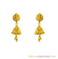 22K Gold Filigree Jhumka Earrings - ErFc13482 - 22Kt Gold ...