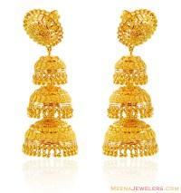 22K Gold Jhumka Earrings - ErFc16102 - 22KT Gold earrings ...
