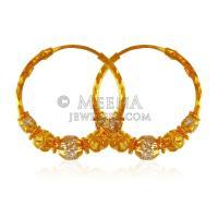 22 karat Gold Hoops - ErHp21887 - 22 karat Gold fancy ...