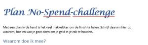 Voorbeeld plan no-spend-challenge plan voor de no-spend-maand