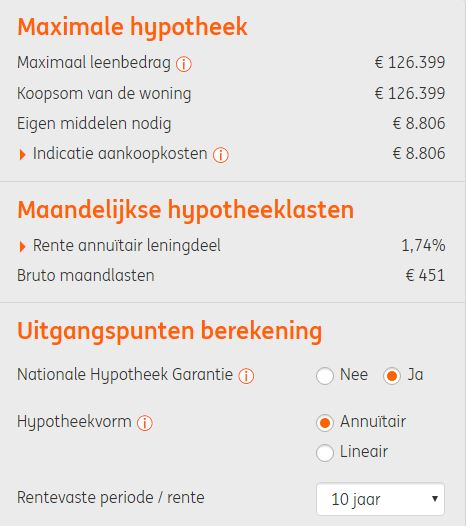 ing maximale hypotheek