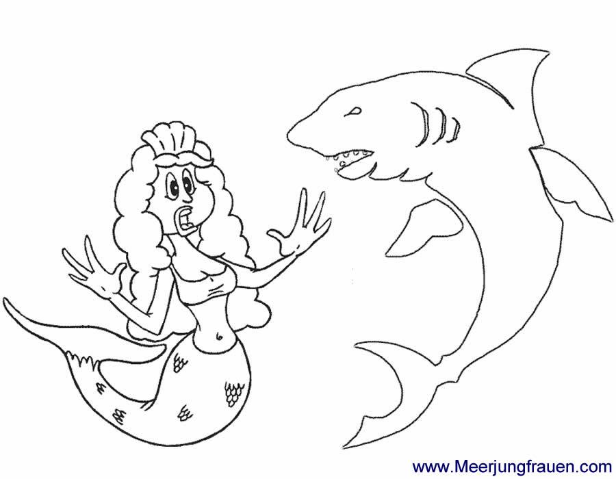 Ausmalbild Meerjungfrau begegnet einem Hai und erschreckt