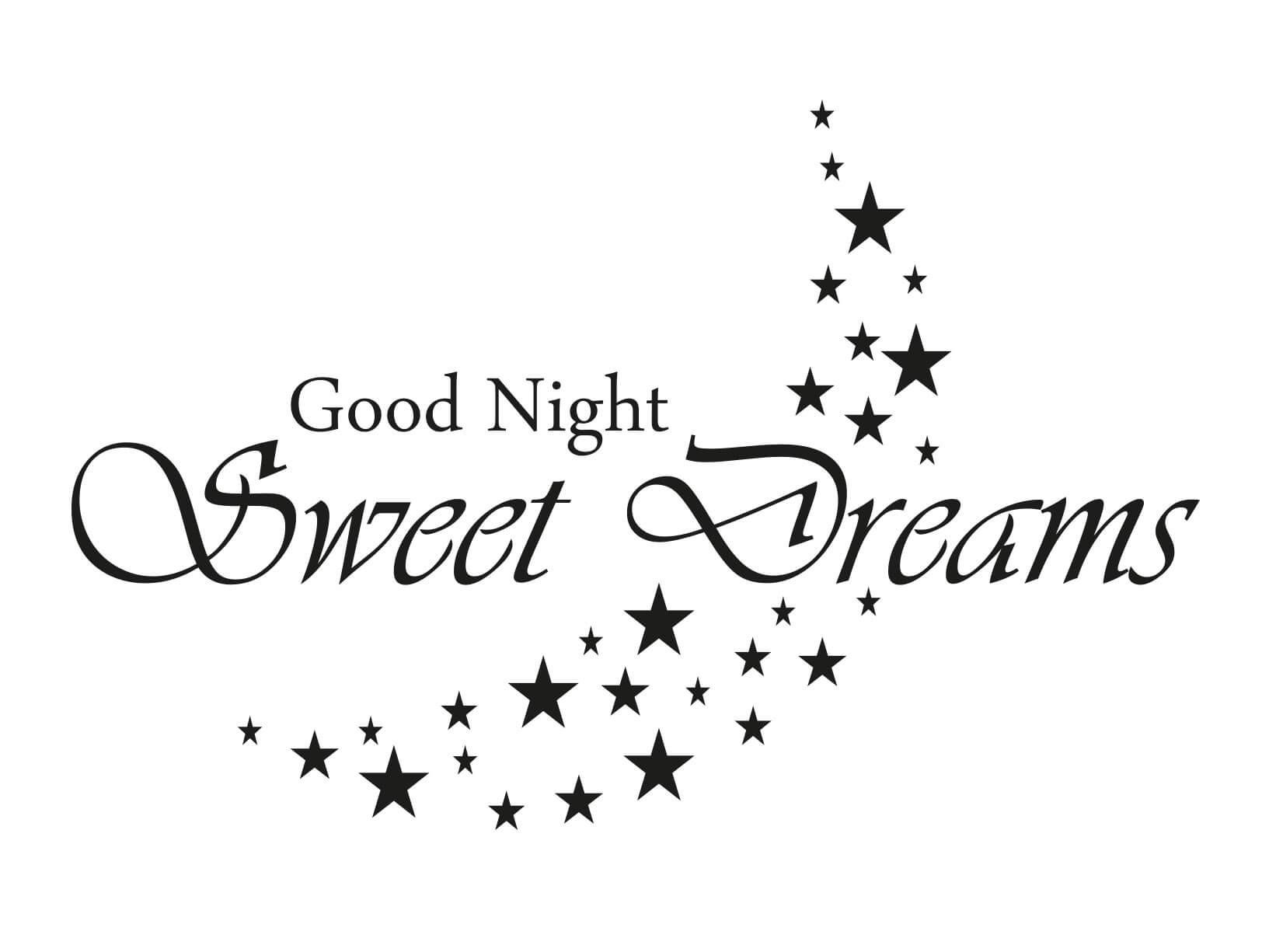 Muursticker Good Night Sweet Dreams met sterren maan