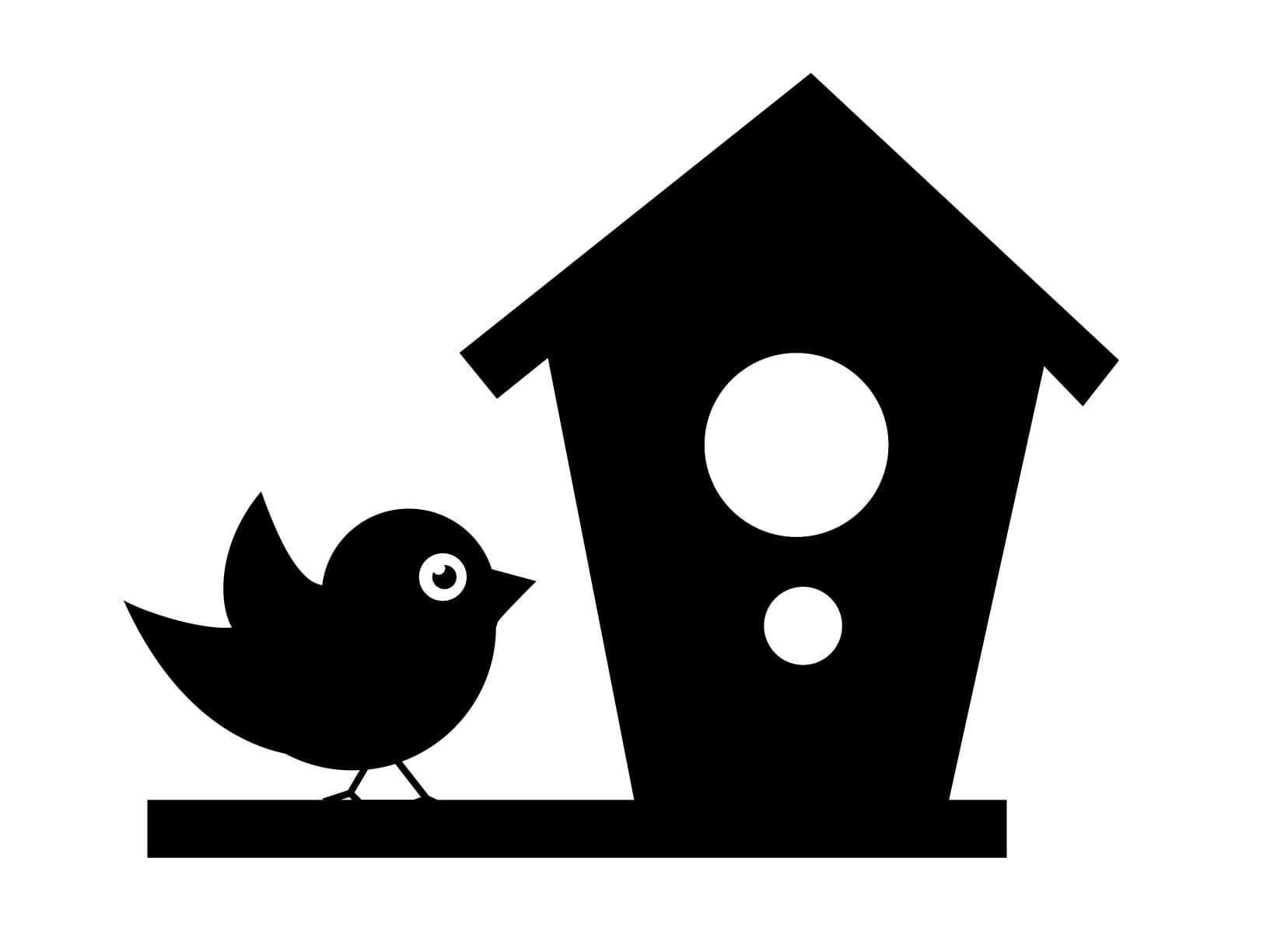 Muursticker vogeltje met vogelhuisje  Muurstickers