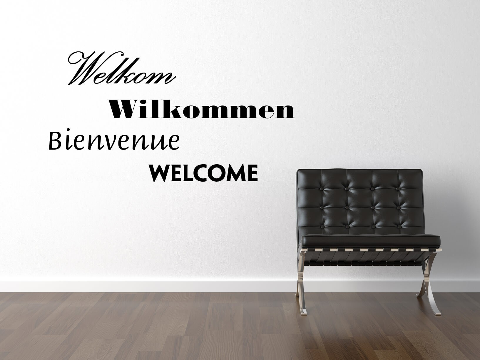 Muursticker Welkom Wilkommen Bienvenue Welcome