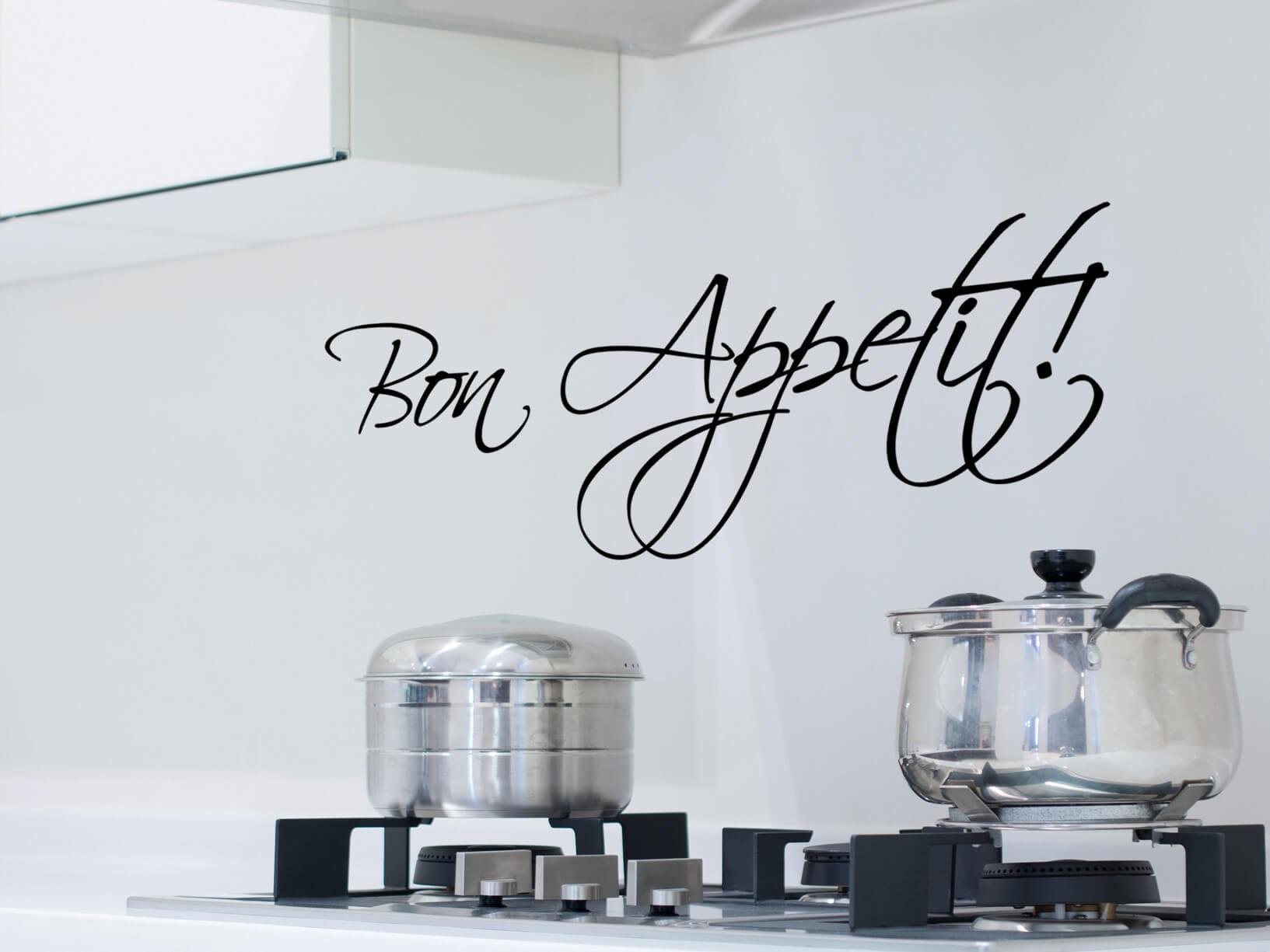 Muursticker Bon Appetit in sierletters  Keuken muurstickers