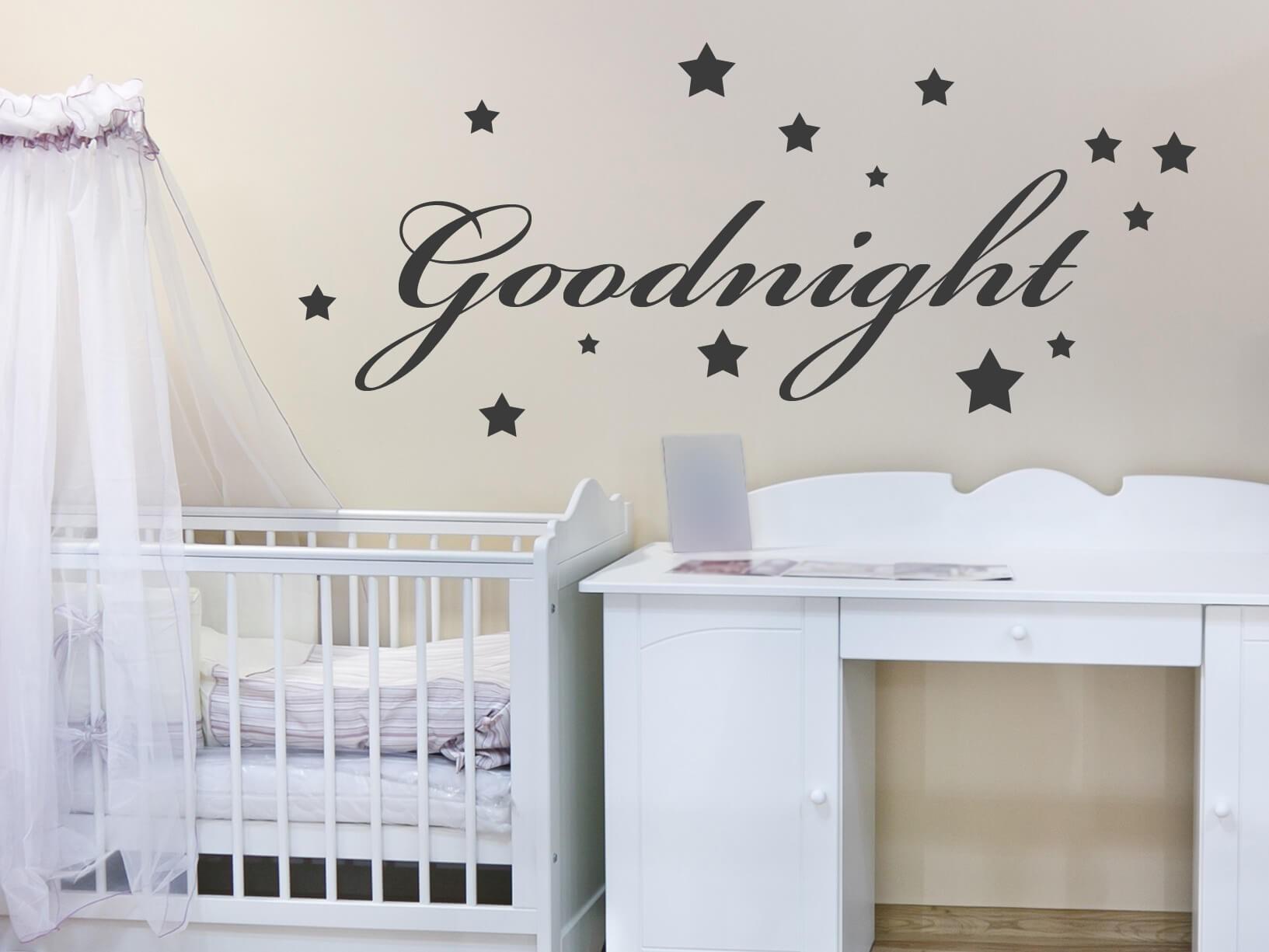 Muursticker Goodnight met sterren  Kinderkamer muurstickers