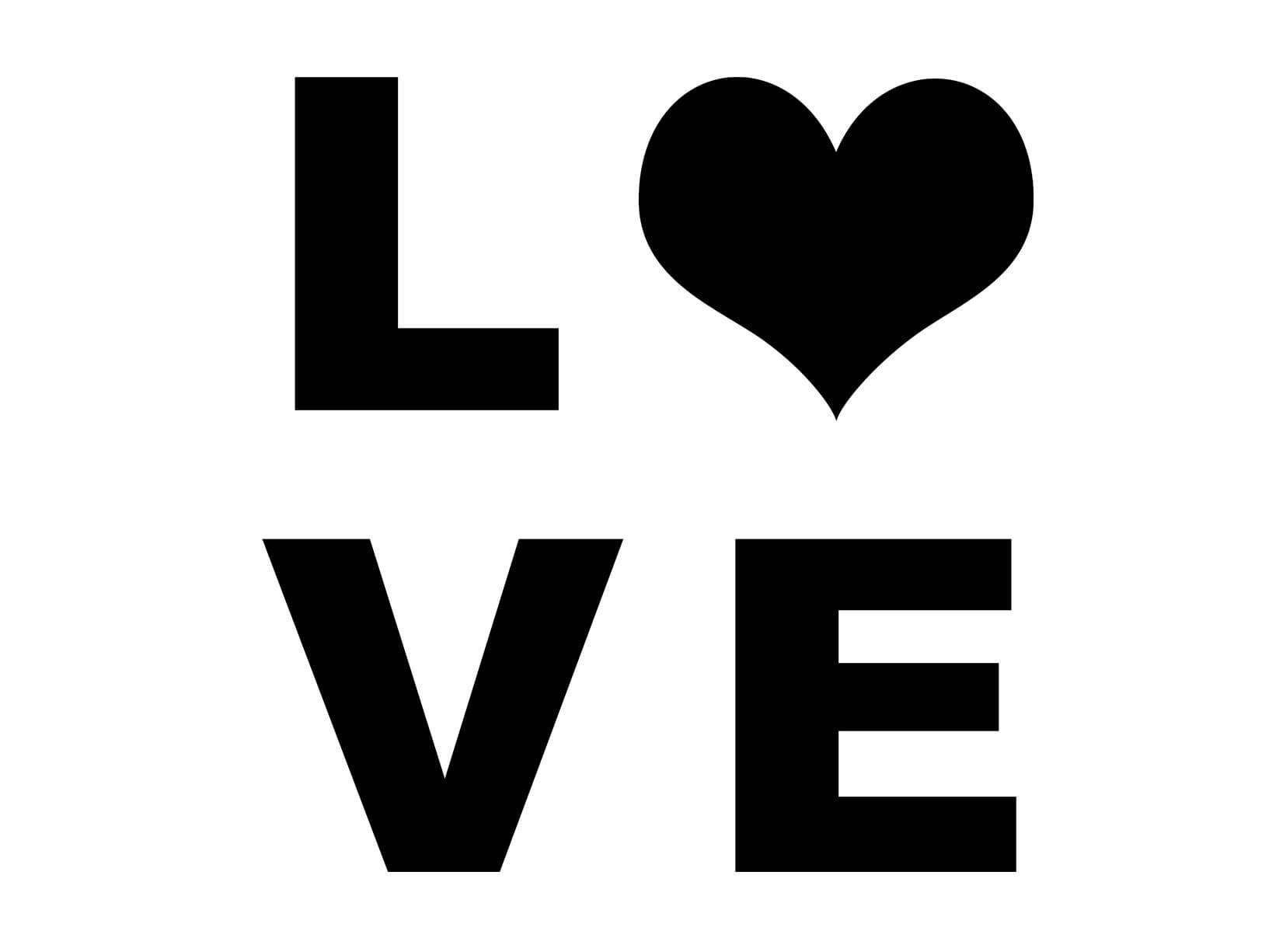 Muursticker Love met hart  Engelse muurteksten