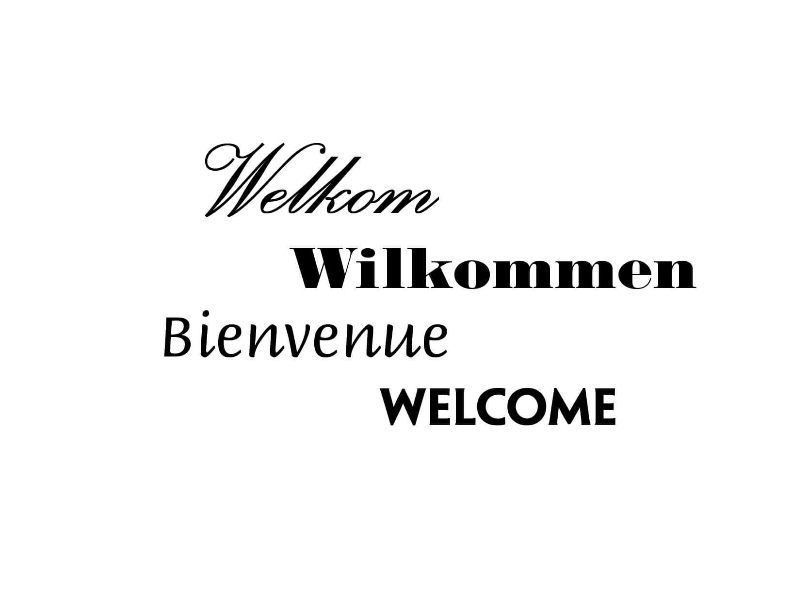 Muursticker Welkom Wilkommen Bienvenue Welcome