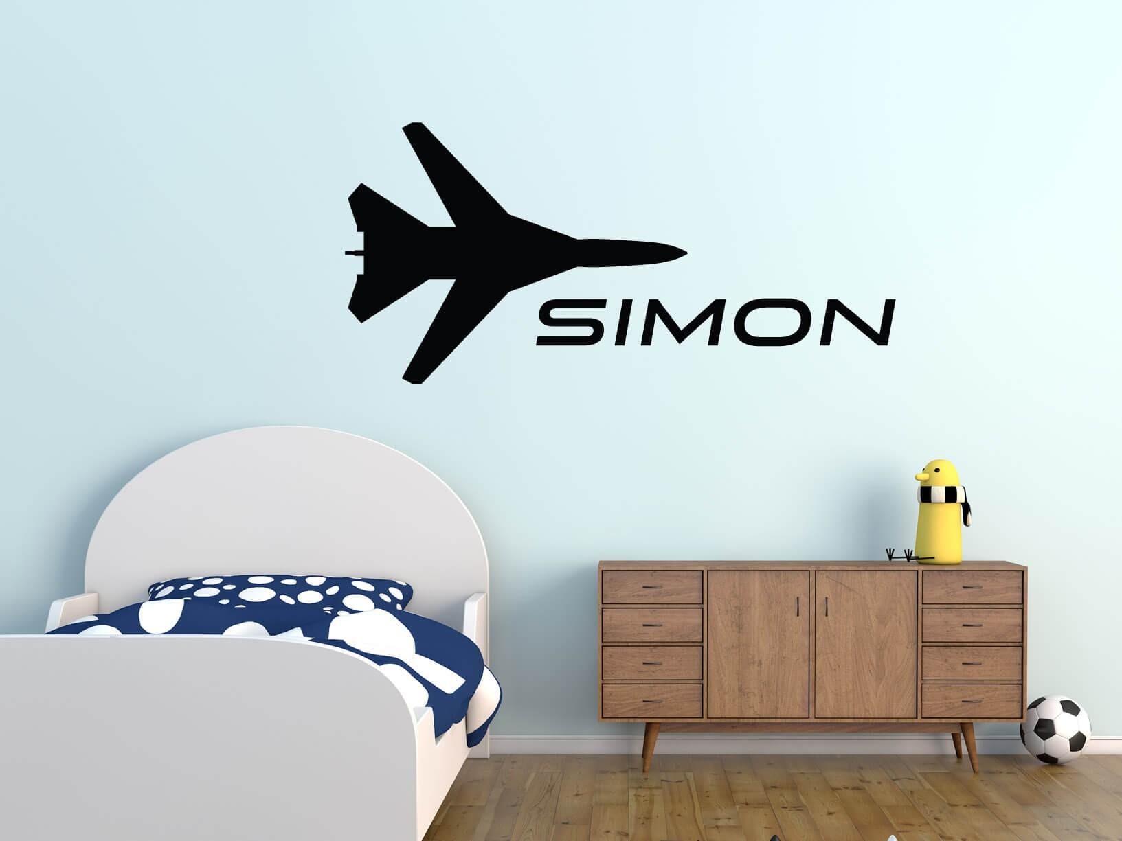 Muursticker vliegtuig met eigen tekst in stoere letters