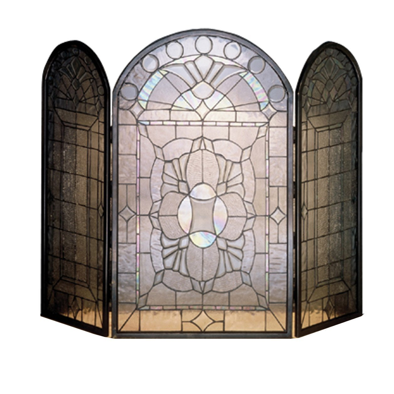 Beveled Glass Fireplace Screen
