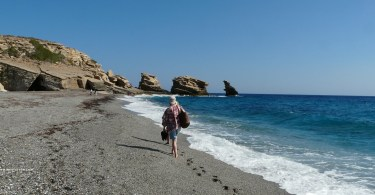 Triopetra beach – 3 large bizzare rocks protrude from the sea