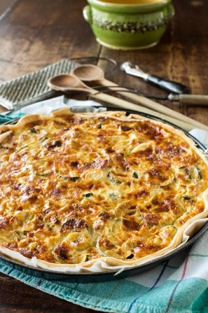 Zucchini, Ham and Goat Cheese Pie