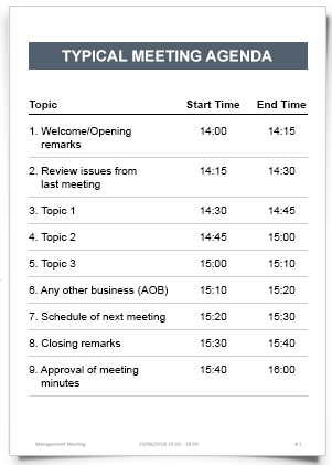"""Click the meeting, and then in the """"prepare"""" area, click on the sample agenda template of your choice. Meeting Agenda"""
