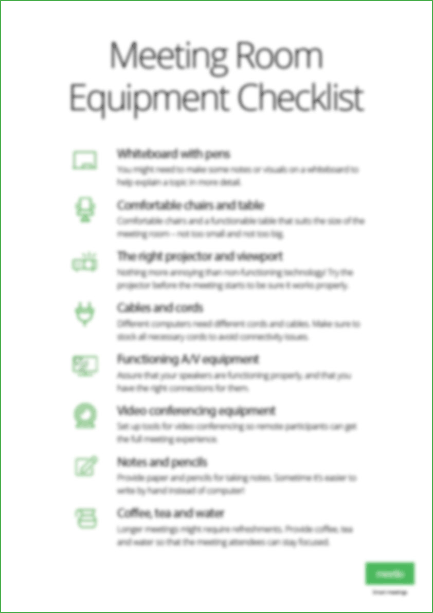 Meeting room safety inspection checklist. Conference Room Equipment Checklist