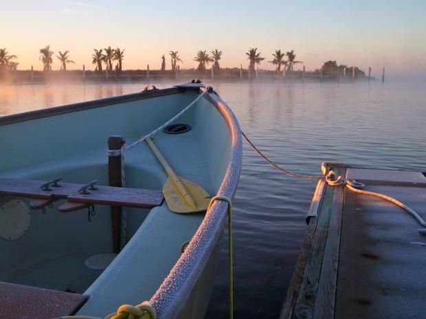 The Mag, a sailboat, at sunrise