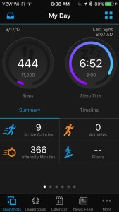Screenshot of fitness tracker app