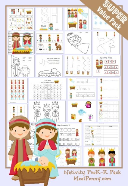 Nativity Preschool Printable Activity Pack - Over 30 activities for ages 2 and up.