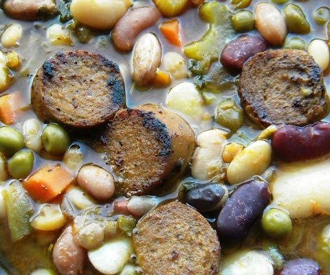 The Betty Crocker Project : 16 Bean, Leek & Tofurky Kielbasa Soup