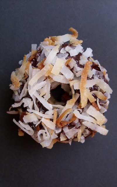 These are the Mini Chocolate-Covered Coconut Doughnuts you're looking for.