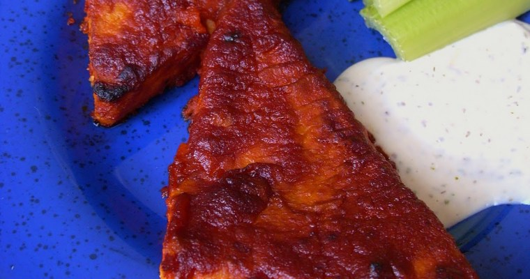 Baked Buffalo Tofu Steaks with Ranch Dressing Dip