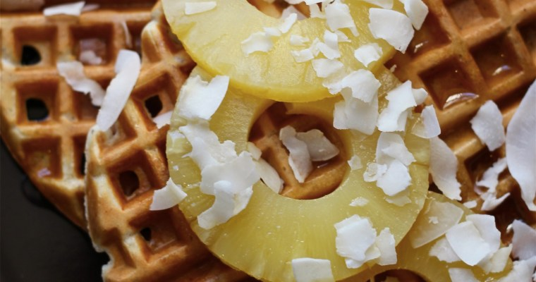 The Betty Crocker Project : Hawaiian Waffles with Tropical Rum & Maple Syrup