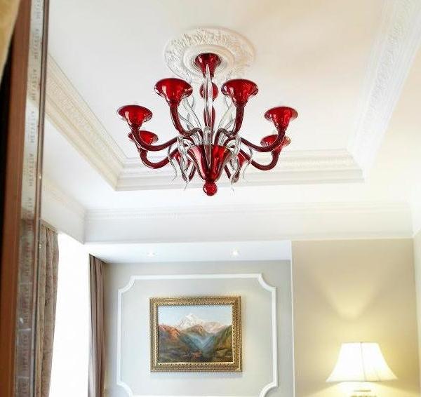 I lampadari murano sono dotati di. I Classici Di Murano Red Glass Chandelier 6 Lights With Light Grey Leaves Mee Venezia 041