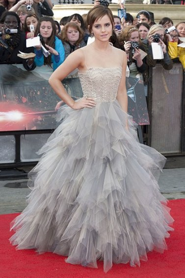 At the last Harry Potter premiere wearing Oscar de la Renta via Getty Images