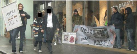 Hupen gegen Pelz! Eine Protestaktion in Metzingen.