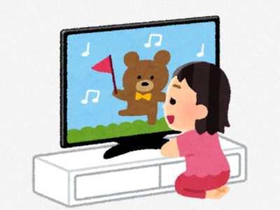 テレビを近くで見る