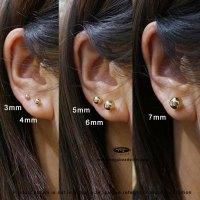 14K Gold 3mm Ball Stud Earrings w/ butterfly backings ...
