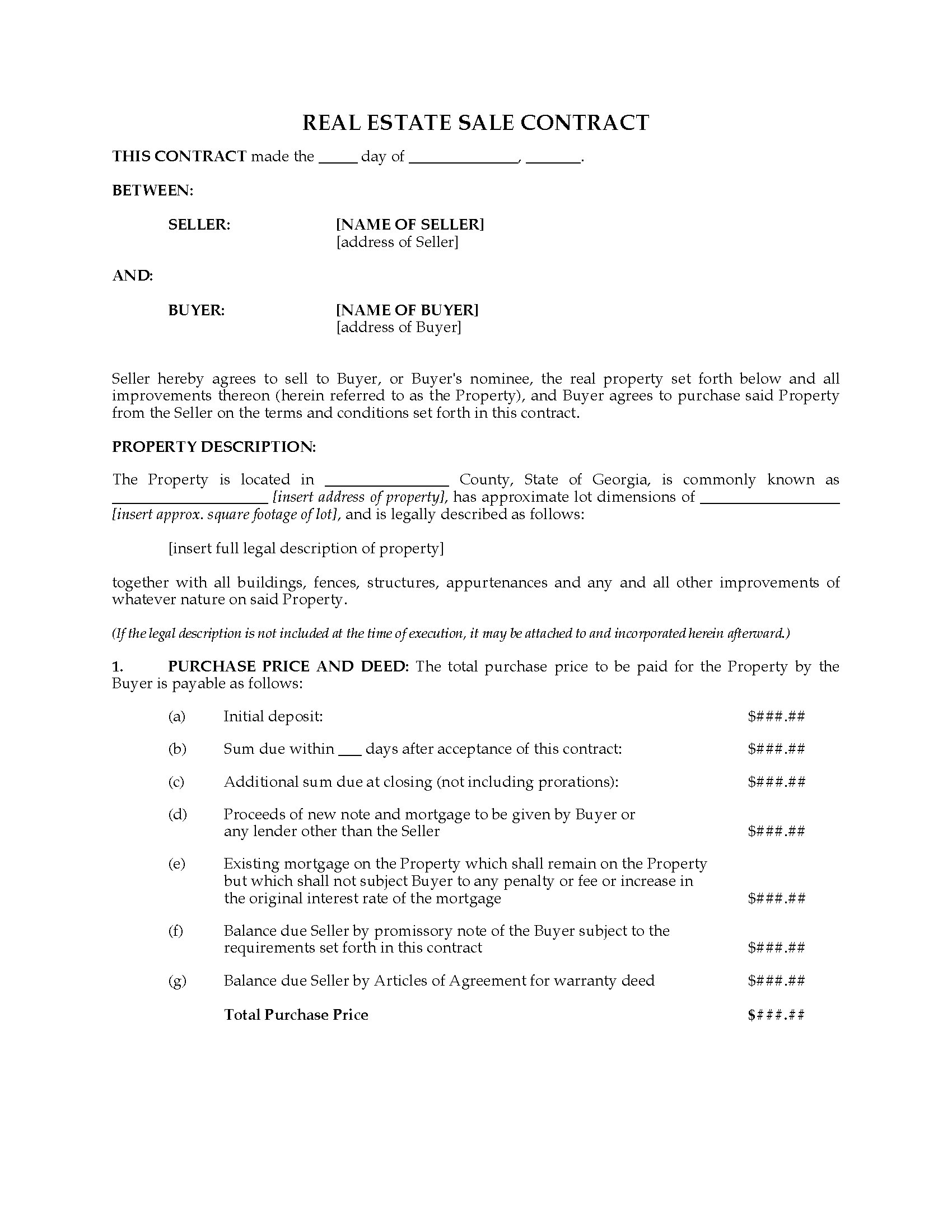 Georgia Real Estate Contract Form Bogas Gardenstaging Co Rh Bogas  Gardenstaging Co Home Sale Contract By Owner Basic Home Sale Contract