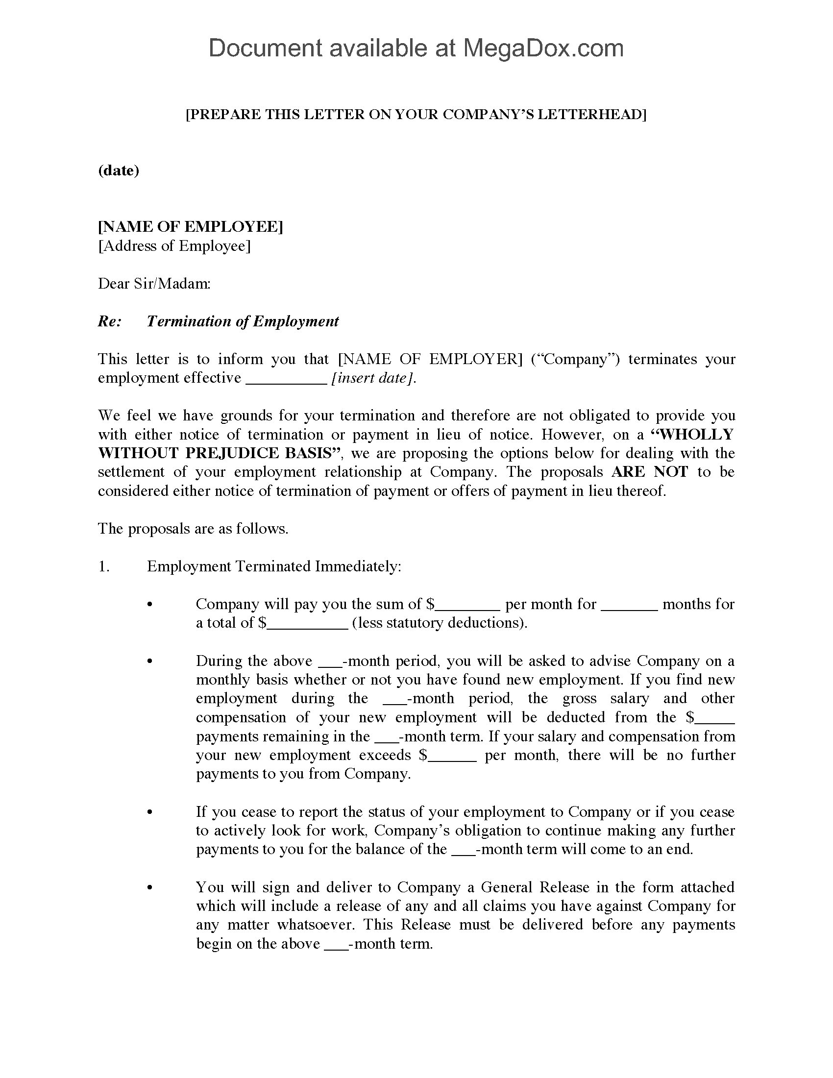 Employment Termination Letter With Settlement Proposal