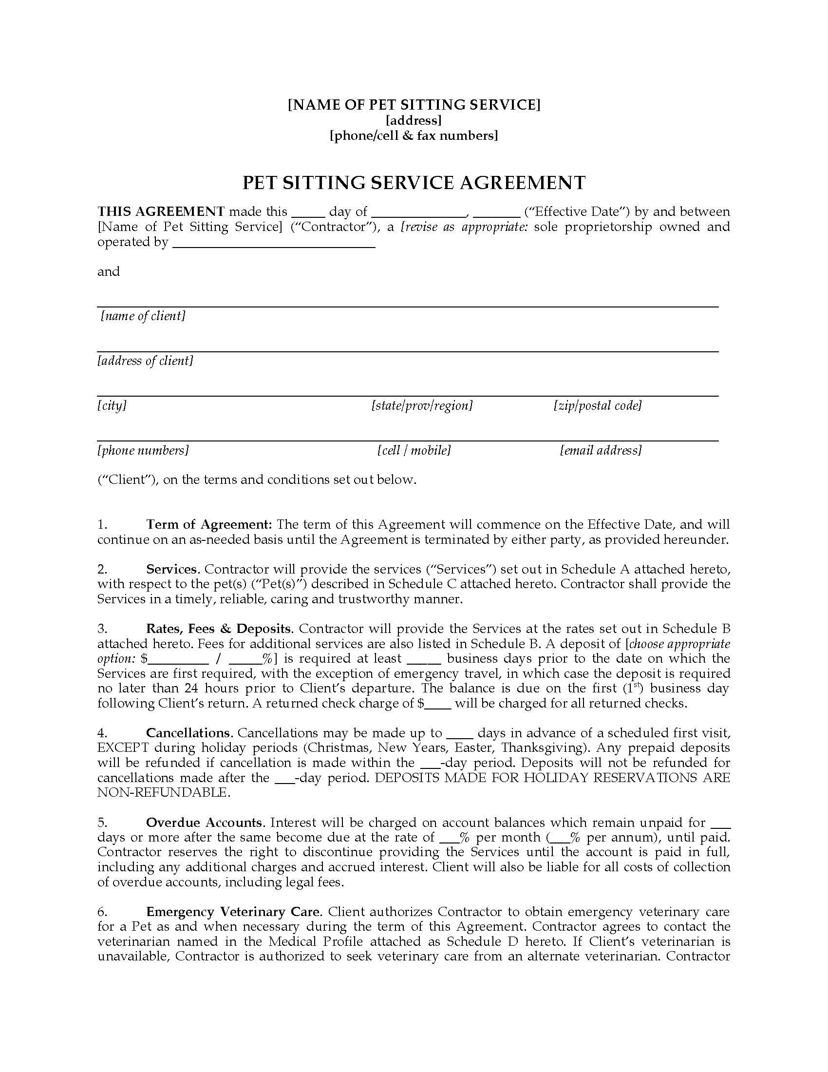 A dog boarding company can use this template to display all the details explaining the service that was provided for a pet owner's dog along with any. Pet Sitter Contract Forms Package Legal Forms And Business Templates Megadox Com