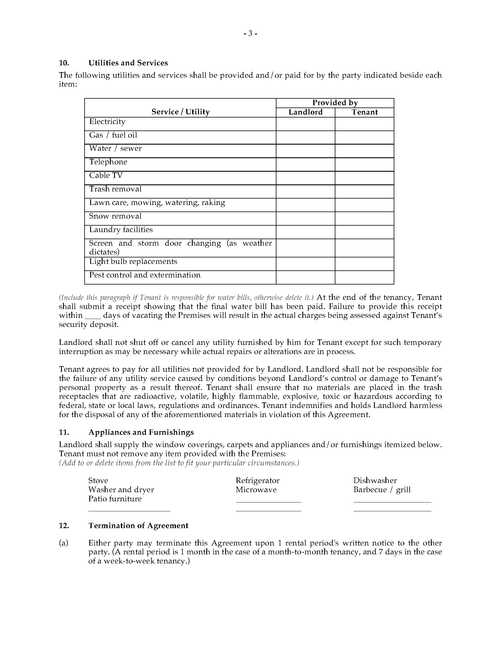 Michigan Rental Agreement Monthly Or Weekly Legal Forms And Business Templates