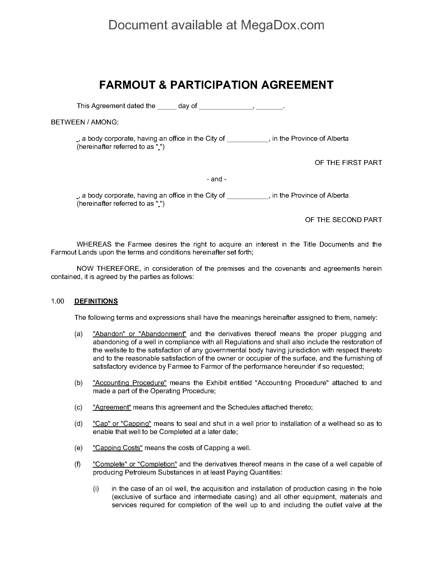Our easily editable legal templates allow you to protect your business and subsidiaries from. Alberta Farmout And Participation Agreement Legal Forms And Business Templates Megadox Com