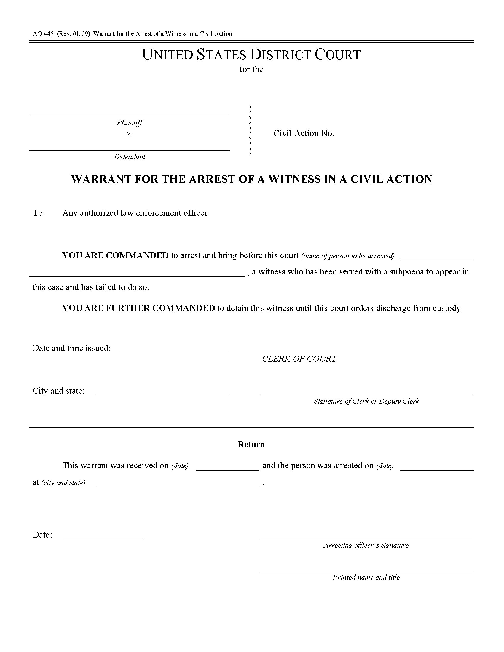 Usa Arrest Warrant For Witness In Civil Action Form Ao445