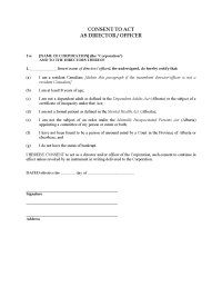 Alberta Consent to Act as Director or Officer | Legal ...