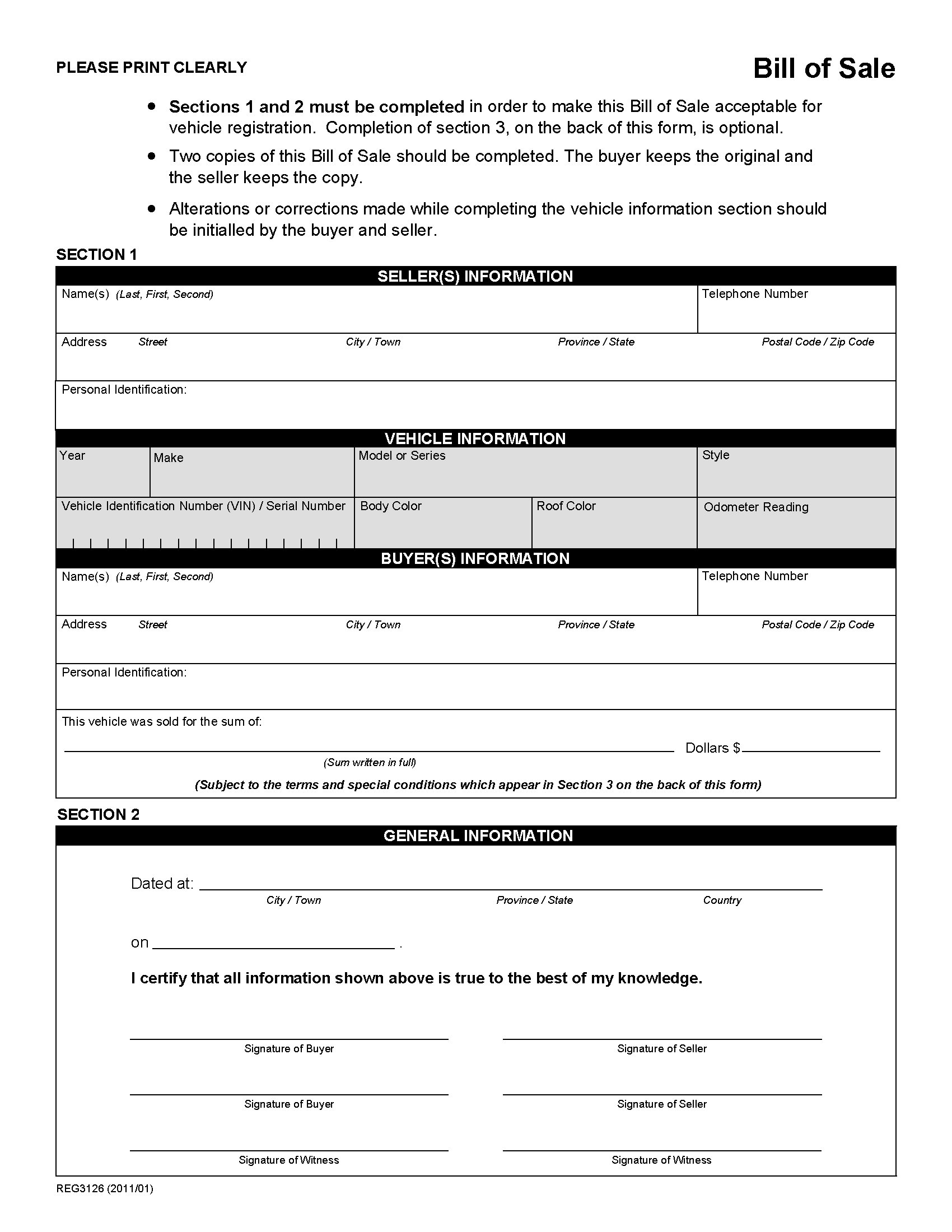 Alberta Bill Of Sale Form For Vehicle