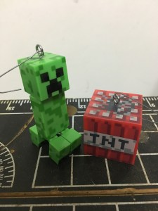 Minecraft Creeper and TNT ornaments