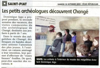 Musée des mégalithes de Changé - visites scolaires 28-29/10/2015 - article de l'Echo républicain