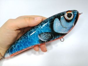 megalures-Jerkbait Blue Orange Belly Musky Lure
