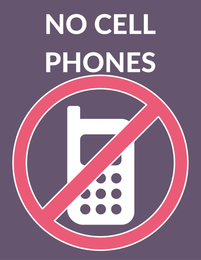 No Cell Phones Luke's Diner Sign