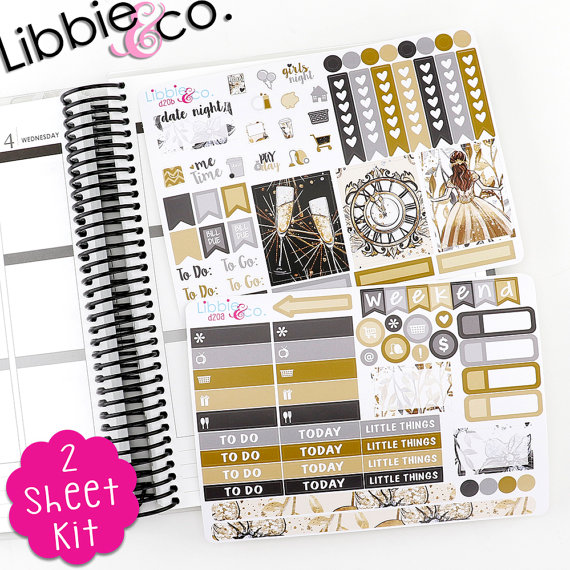 Libbie and Co New Year's Eve Planner Sticker Kit