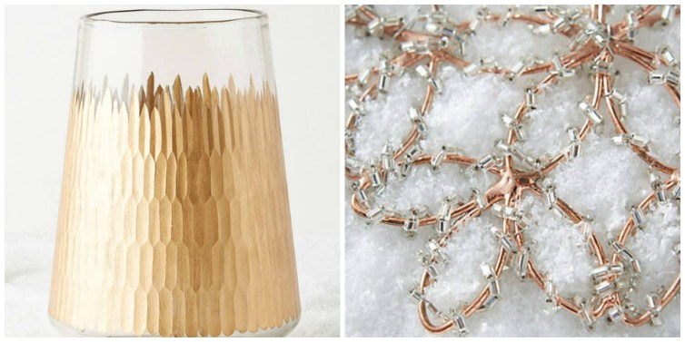 Rose Gold holiday ornaments from Anthropologie
